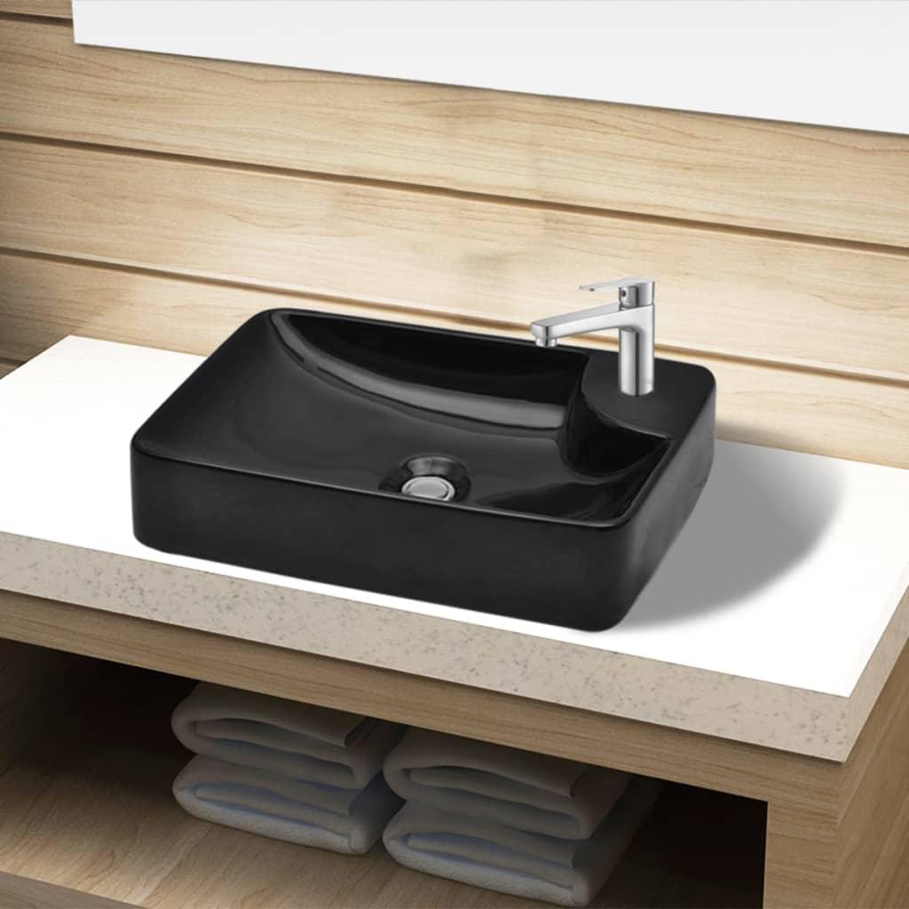 acheter vasque trou pour robinet c ramique noir pour. Black Bedroom Furniture Sets. Home Design Ideas