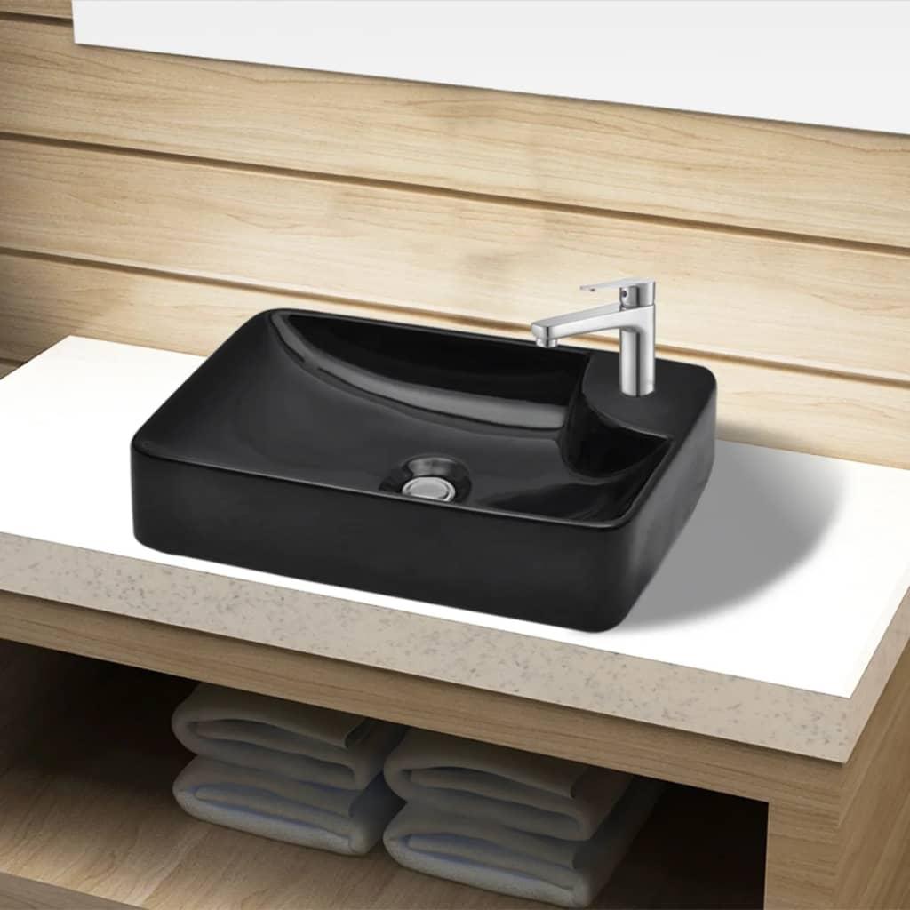 Lavandino lavabo appoggio bagno ceramica bianca/nera con piletta ...