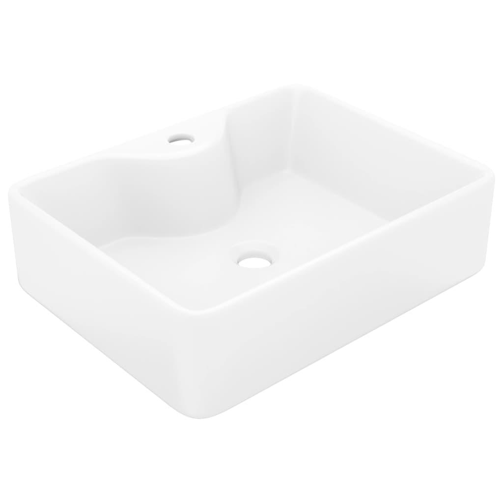 Acheter vasque carr trou pour robinet c ramique blanc for Salle de bain 6 metre carre