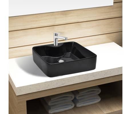 keramik waschbecken mit hahnloch schwarz quadratisch im vidaxl trendshop. Black Bedroom Furniture Sets. Home Design Ideas