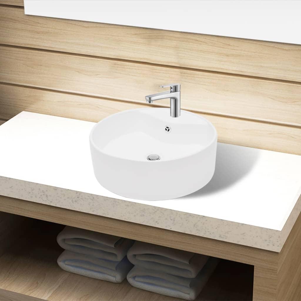 vidaXL Fürdőszoba kerek kerámia mosdó Csaptelep és túlfolyó lukkal fehér