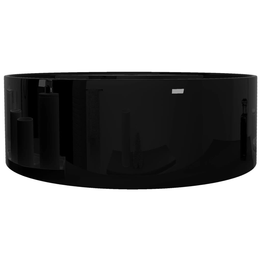 vidaXLnl  Wasbak met overloop, keramiek, rond, zwart # Wasbak Overloop_055632