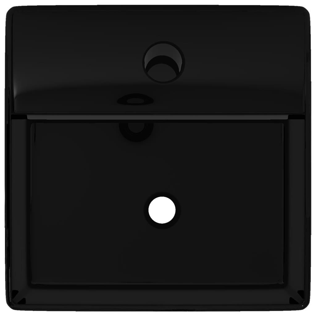 Lavandino bagno in ceramica nera quadrato con foro per - Lavandino bagno nero ...
