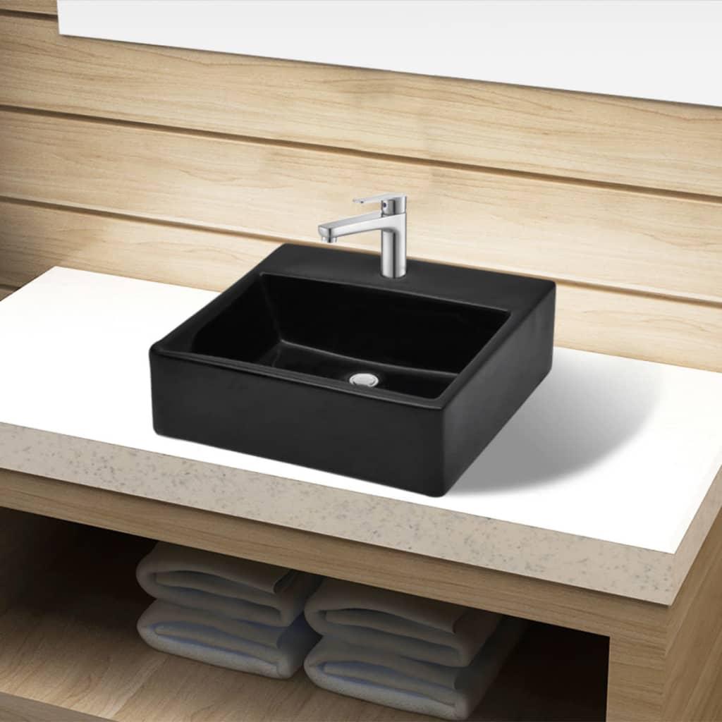 Vasque ronde  trou de robinet carré Blanc Noir en céramique pour
