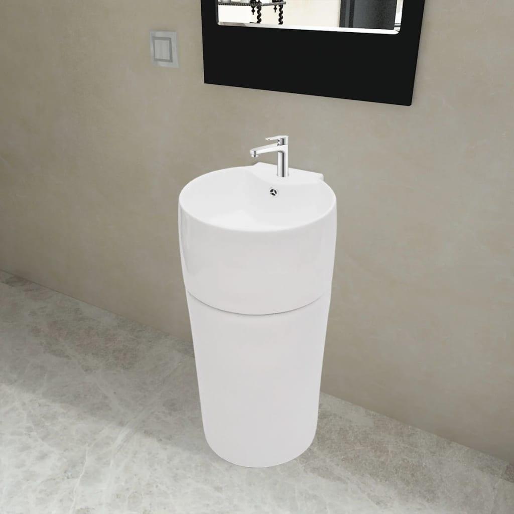 vidaXL Kerek álló kerámia fürdőszoba mosdókagyló csaptelep/túlfolyó lyukkal fehér