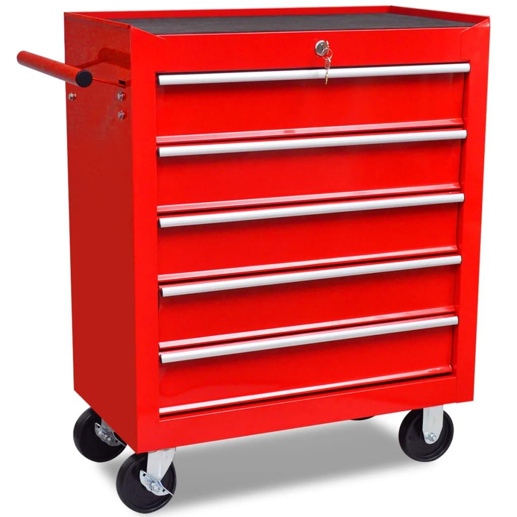 la boutique en ligne chariot outils de l 39 atelier rouge avec 5 tiroirs. Black Bedroom Furniture Sets. Home Design Ideas
