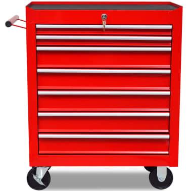 Carinho de ferramentas com 7 gavetas para oficina, vermelho[3/6]