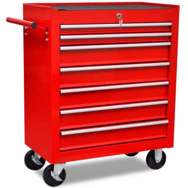 Carinho de ferramentas com 7 gavetas para oficina, vermelho[4/6]