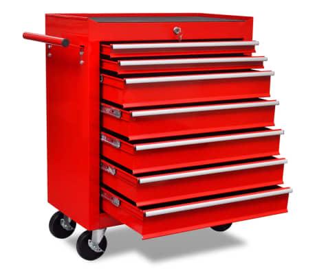 Carinho de ferramentas com 7 gavetas para oficina, vermelho