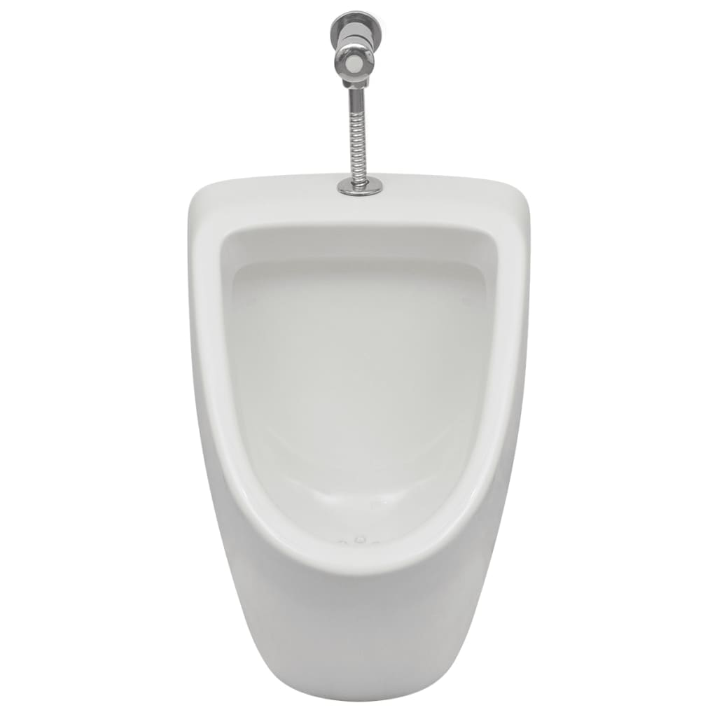 White wall hung urinal with flush valve bathroom ceramic for Flush with the wall
