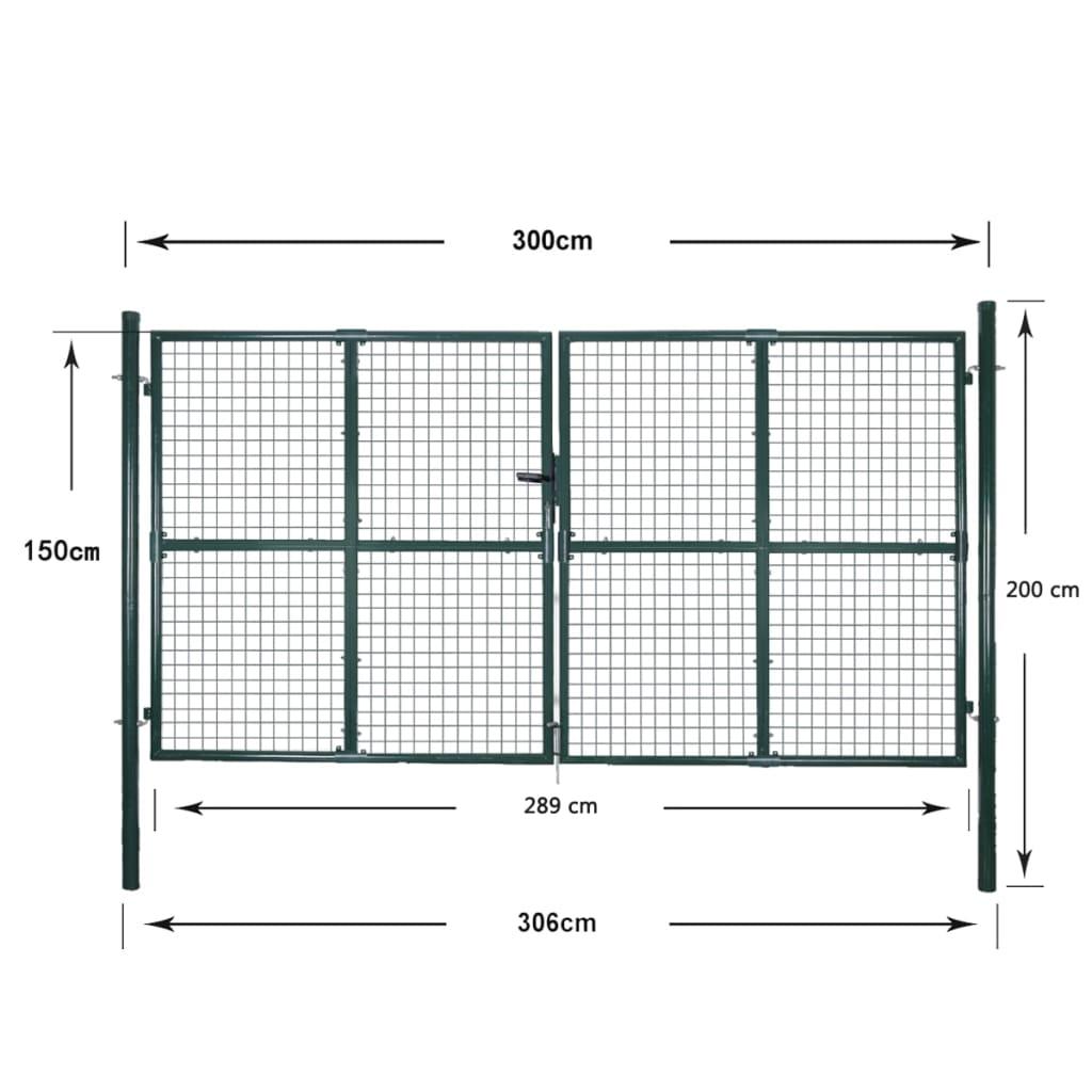 la boutique en ligne vidaxl portail double pour cl ture en acier laqu. Black Bedroom Furniture Sets. Home Design Ideas