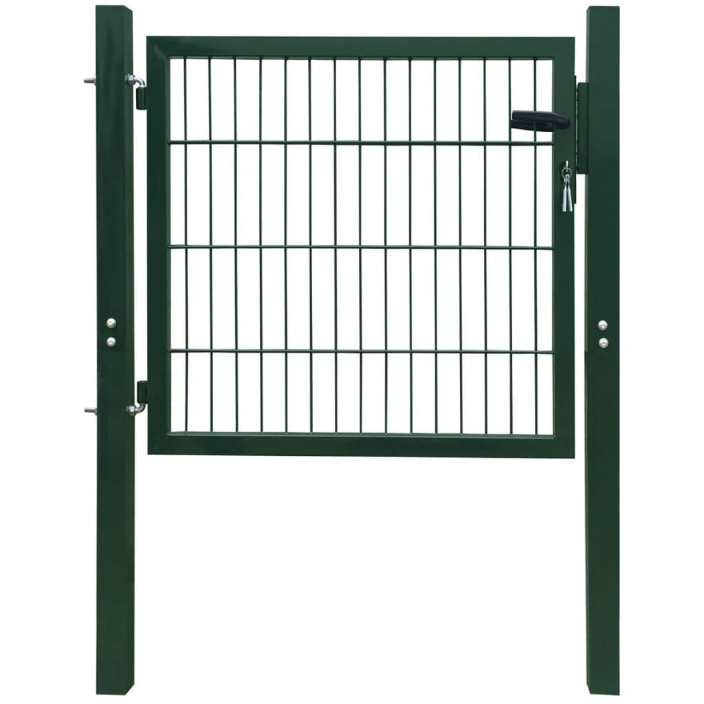 vidaXL 106x150 cm acél kerítés kapu zöld színben