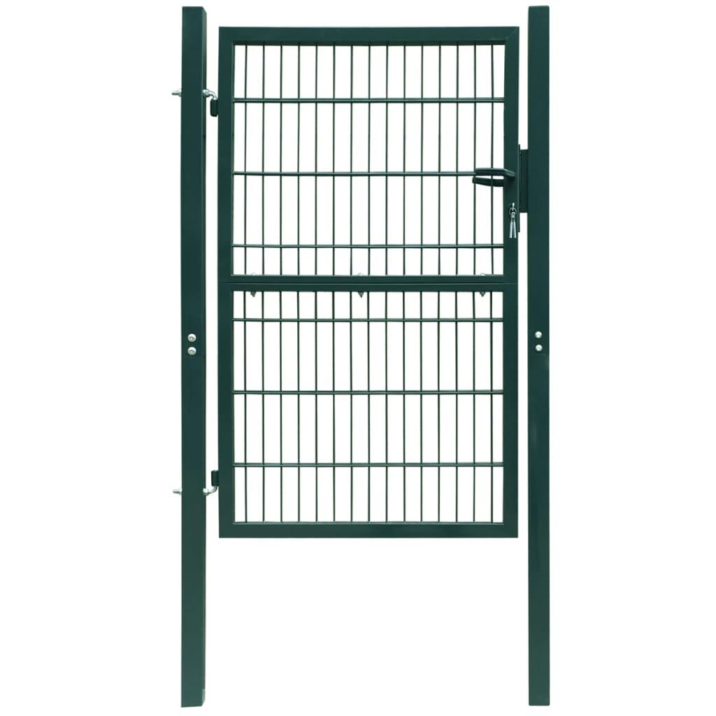 vidaXL 106x250 cm acél kerítés kapu zöld színben
