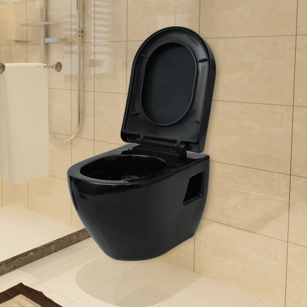 vidaxl toilette murale wc suspendu lunette de wc salle de bain c ramique noir eur 158 39. Black Bedroom Furniture Sets. Home Design Ideas