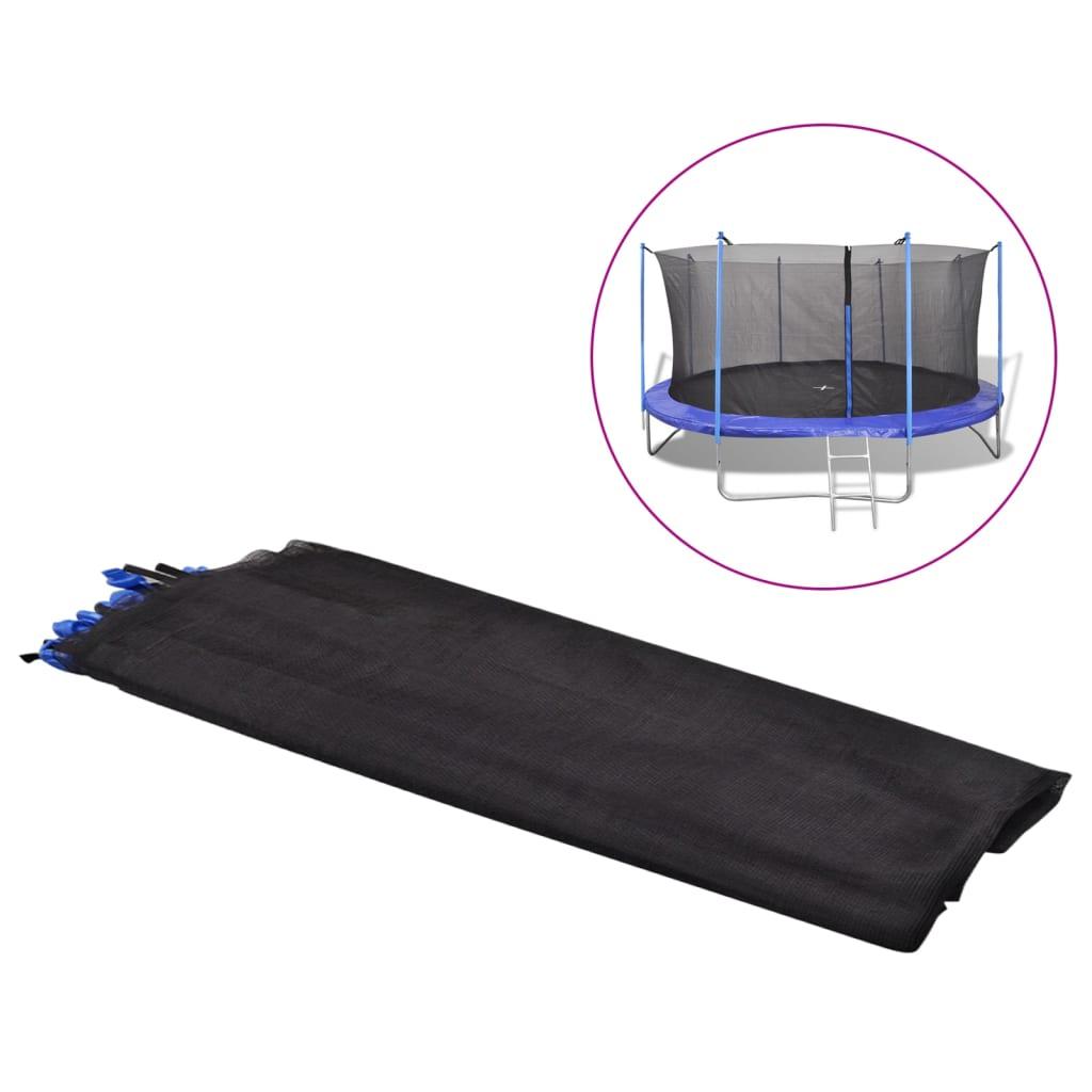 vidaXL 4.57 m fekete PE biztonsági hálóval felszerelt trambulin
