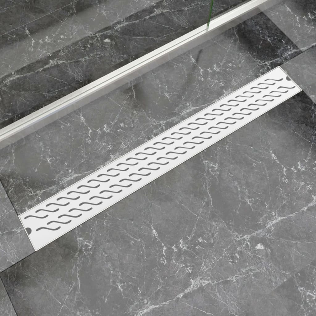 vidaXL 930x140 mm lineáris rozsdamentes acél hullámos zuhany lefolyó
