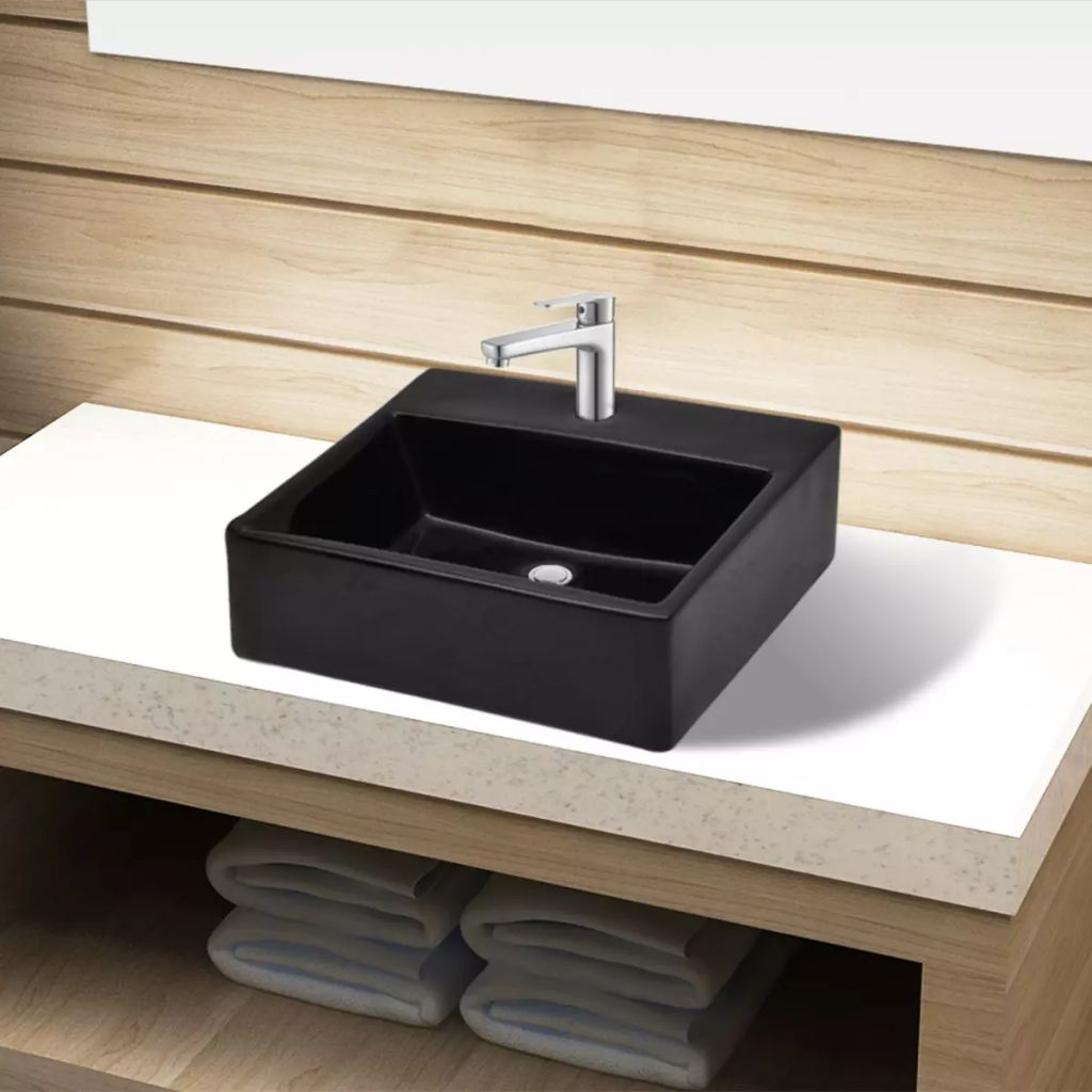 Vidaxl Bathroom Basin Sink Above Counter Top Ceramic Whiteblack