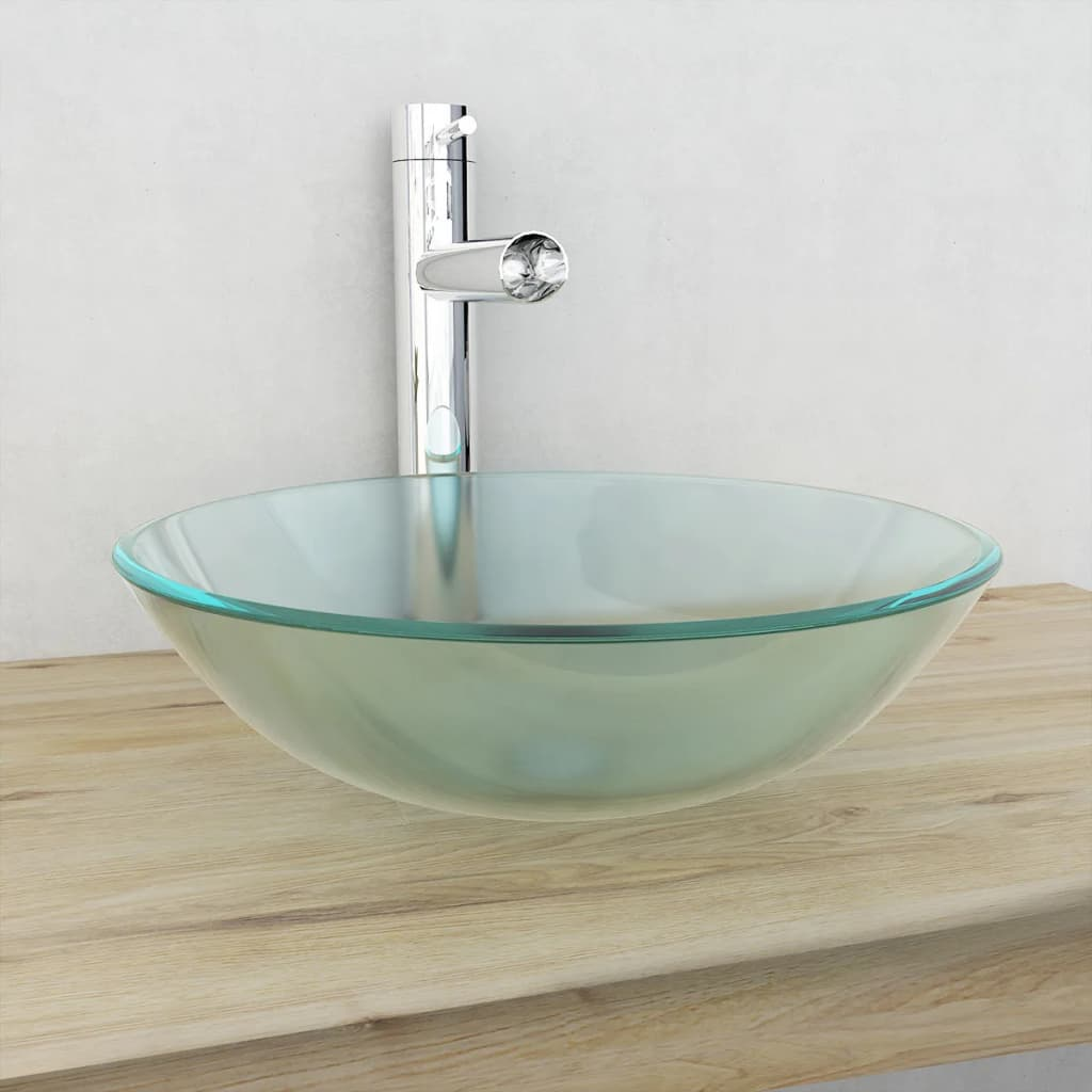 vidaXL-Basin-Tempered-Glass-42cm-Frosted-Cloakroom-Bathroom-Above-Counter-Sink