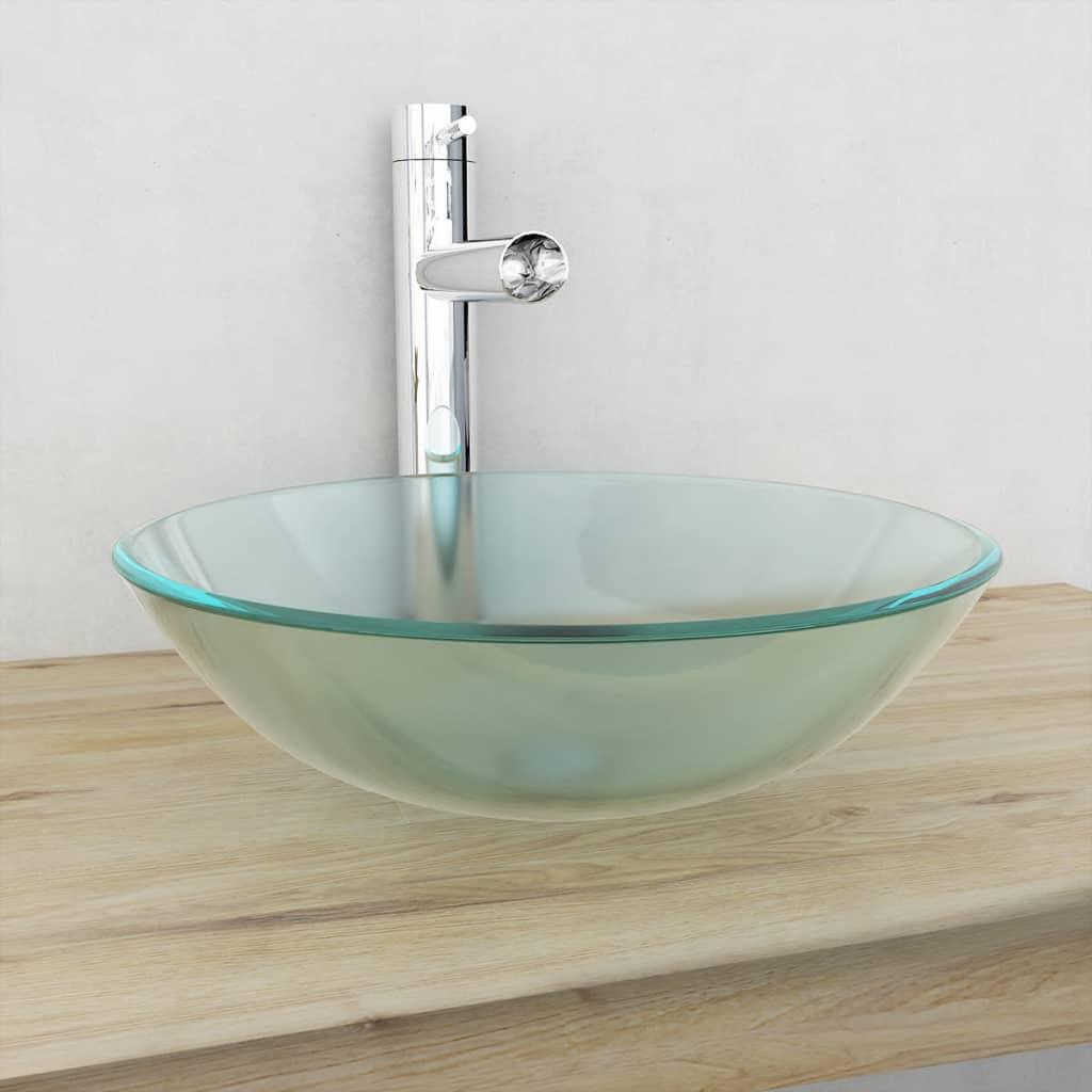 vidaXL 42 cm-es edzett üveg mosdókagyló matt