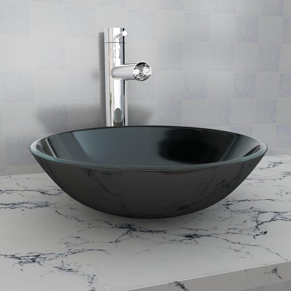 vidaXL 42 cm-es edzett üveg mosdókagyló fekete