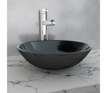vidaXL Lavabo Vasque à poser pour salle de bain Verre trempé Noir ...