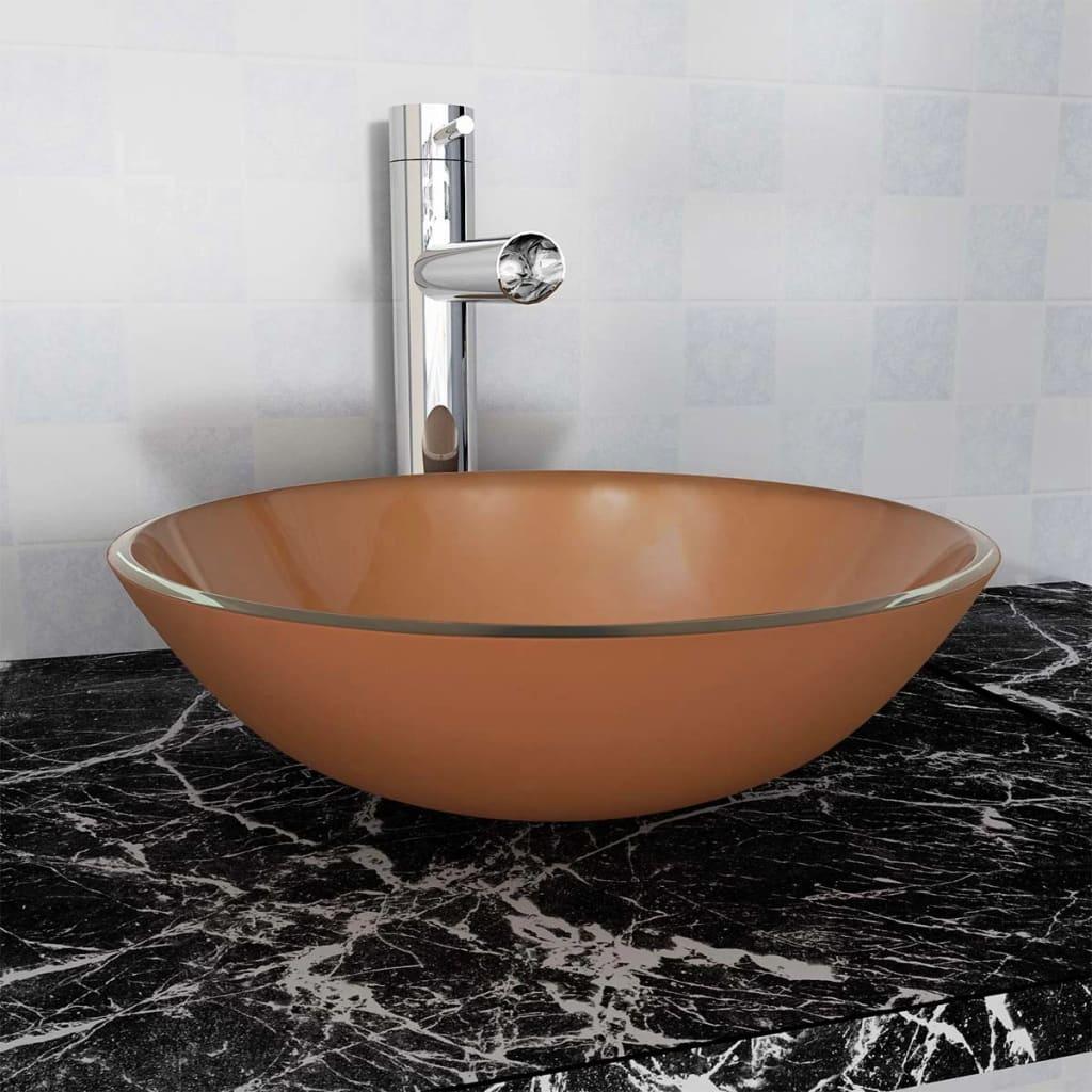 vidaXL 42 cm-es edzett üveg mosdókagyló barna