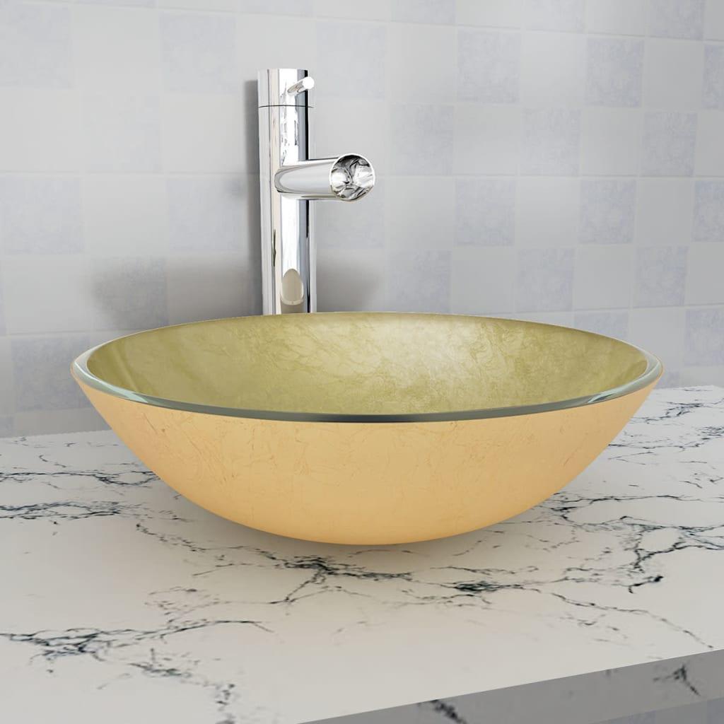 vidaXL 42 cm-es edzett üveg mosdókagyló aranyszínű