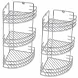 142312 vidaXL Three-Tier Shower Corner Shelves 2 pcs Metal