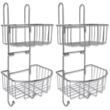 142313 vidaXL Two-Tier Shower Shelves 2 pcs Metal