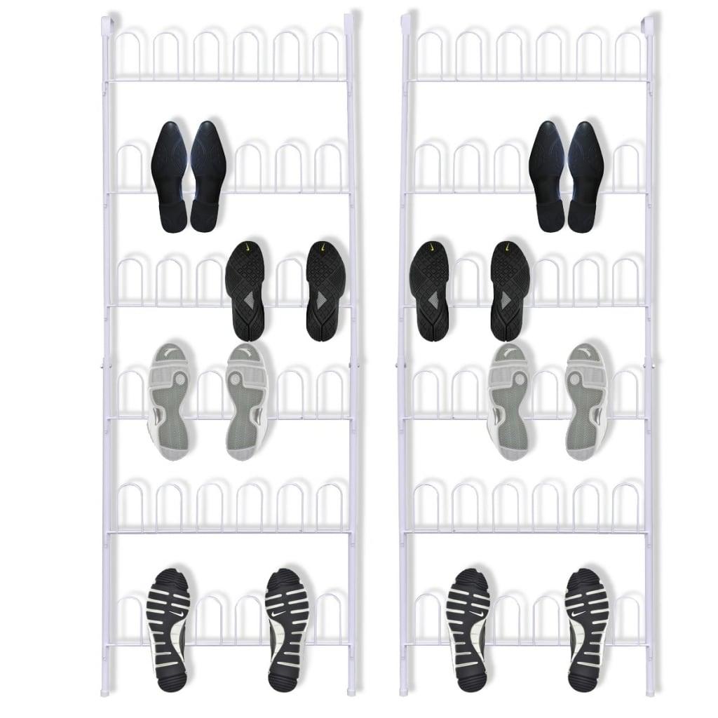 vidaXL cipőtartó állvány 18 pár cipőhöz 2 db acél fehér