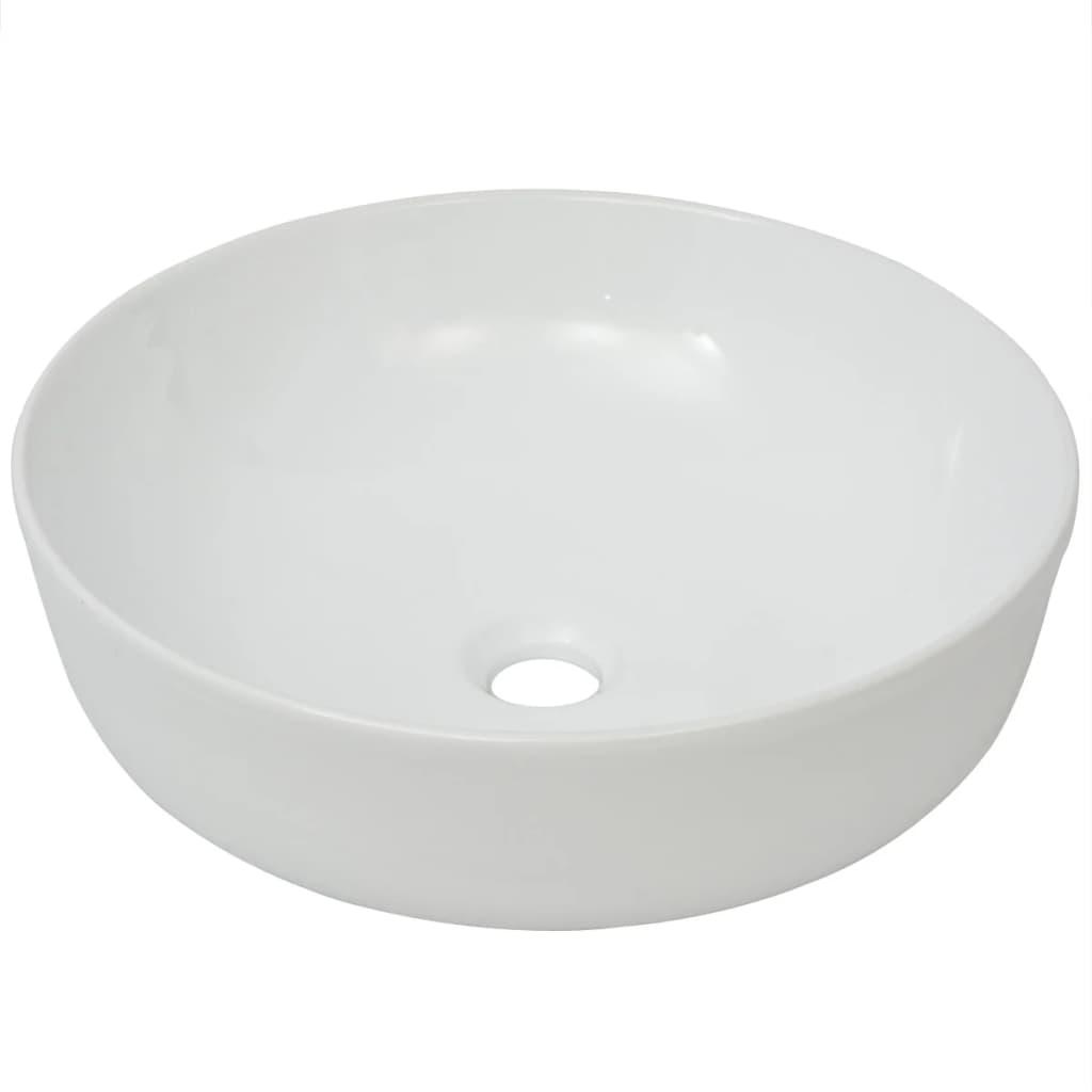 vidaxl keramik waschbecken waschtisch waschplatz badzimmer rund wei 41 5x13 5cm eur 32 99. Black Bedroom Furniture Sets. Home Design Ideas