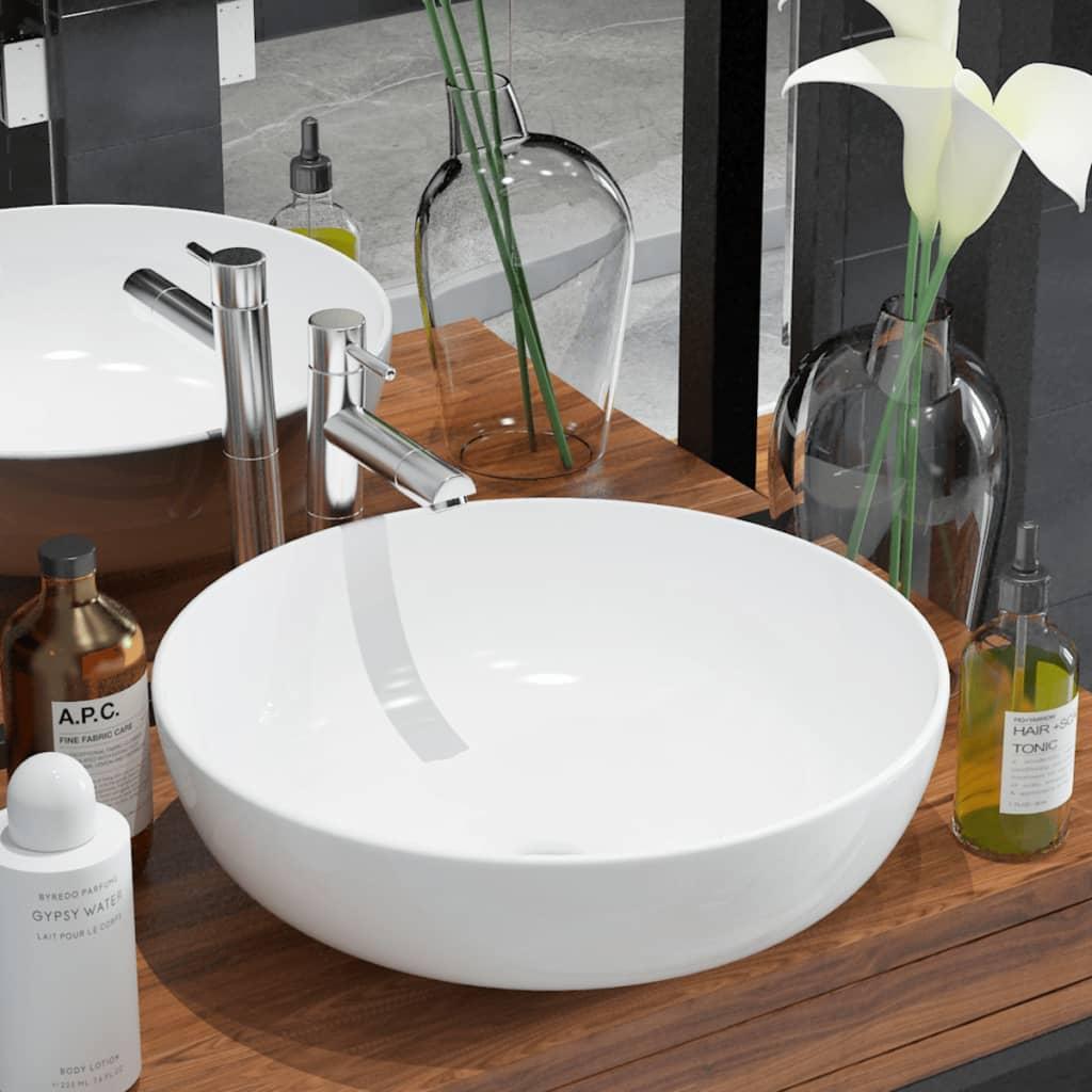 vidaXL Kerek, fehér kerámia mosdókagyló 41,5x13,5 cm