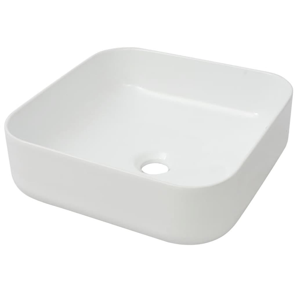 vasque a poser carre vidaXL-Lavabo-Carre-Ceramique-Blanc-38x38x13-5-cm-