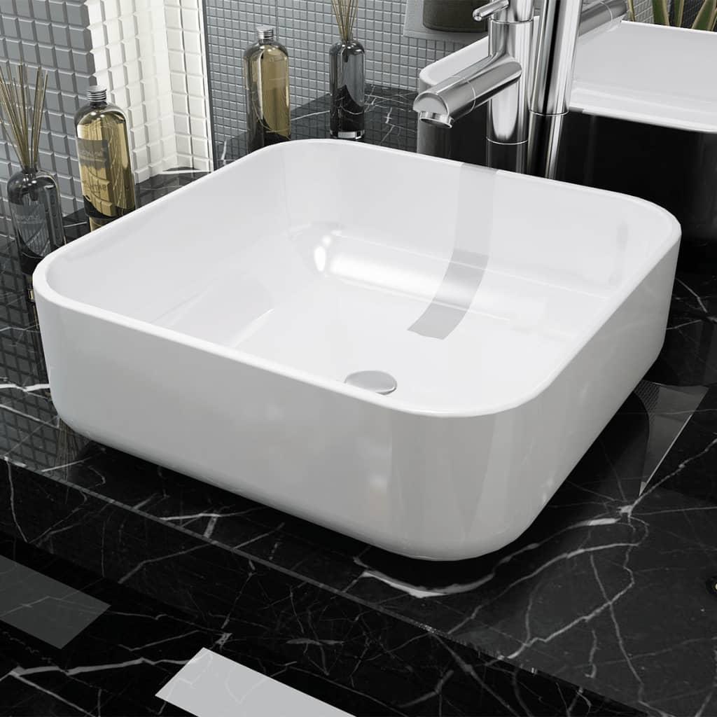 vidaXL Négyzet alakú, fehér kerámia mosdókagyló 38x38x13,5 cm