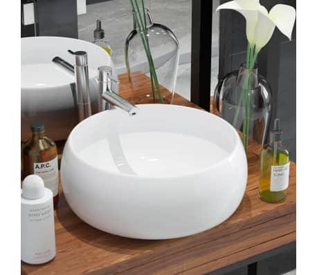vidaxl waschbecken rund keramik wei 40 x 16 cm im vidaxl trendshop. Black Bedroom Furniture Sets. Home Design Ideas
