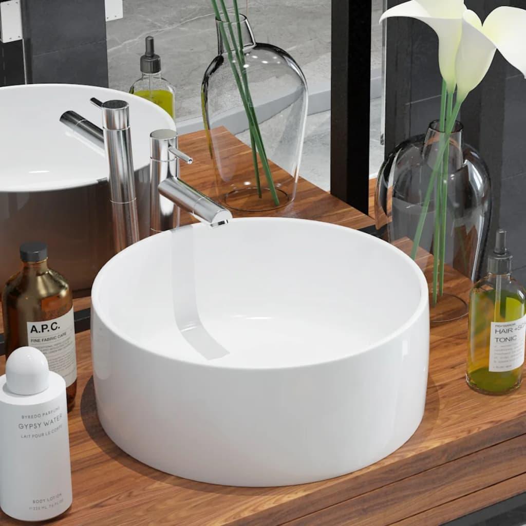 vidaXL Kerek, fehér kerámia mosdókagyló 40x15 cm
