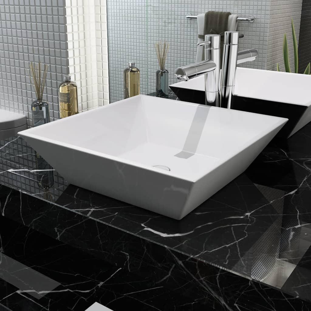 vidaXL Négyzetes, fehér kerámia mosdókagyló 41,5x41,5x12 cm