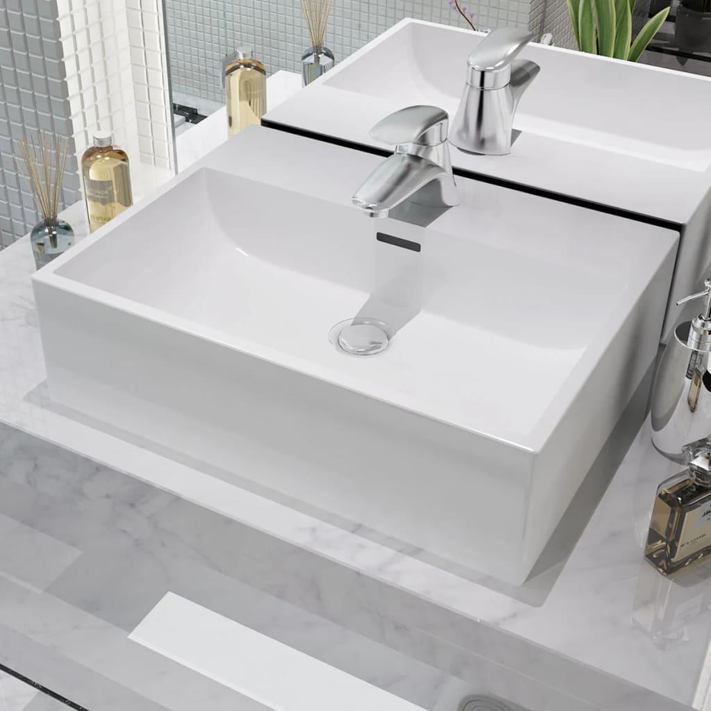 vidaXL Fehér kerámia mosdó csaptelep furattal 51,5x38,5x15 cm