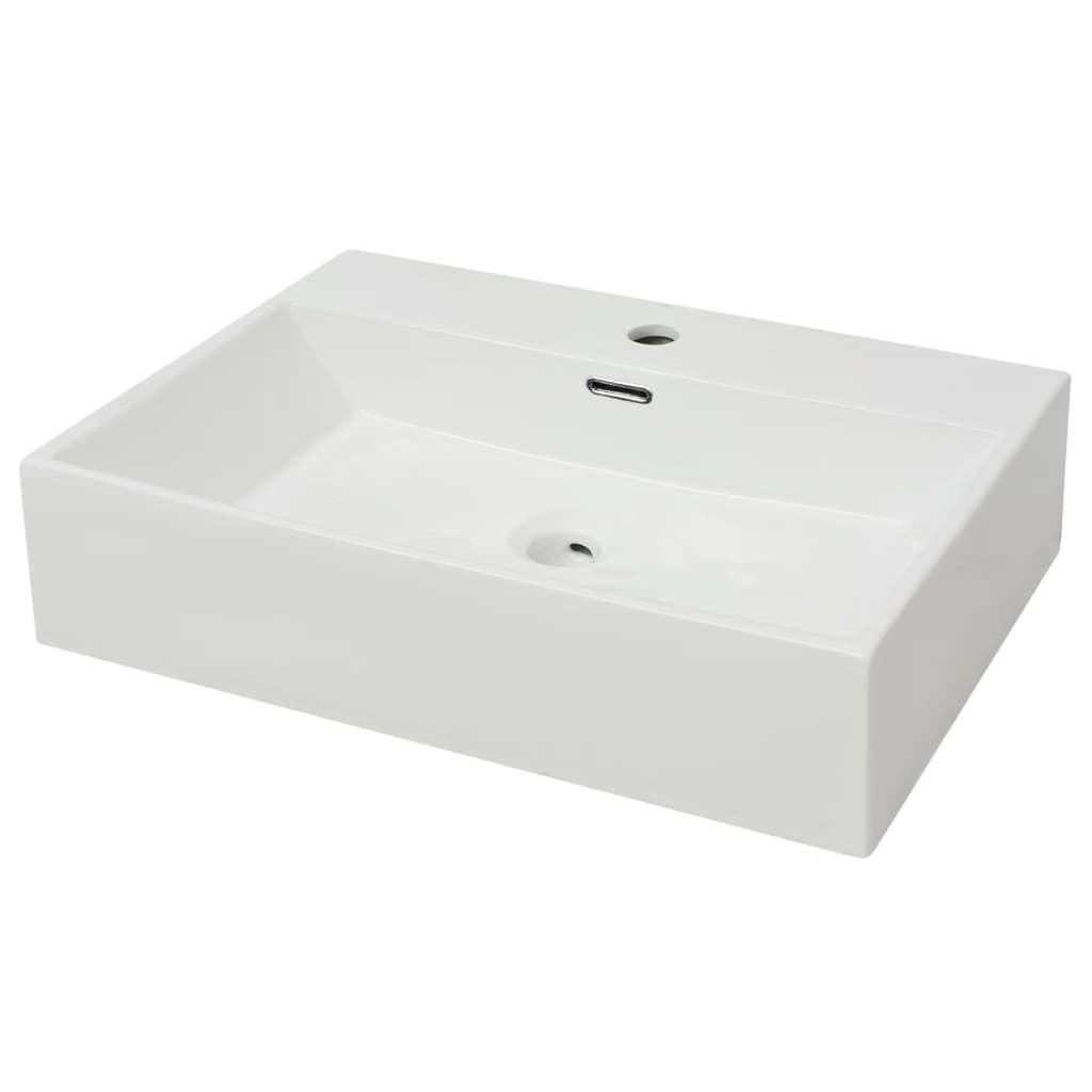 vidaXL-Bathroom-Cloakroom-Wash-Basin-Sink-with-Faucet-Hole-Tap-Ceramic-White