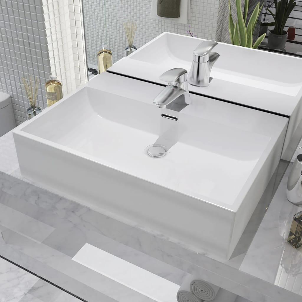 vidaXL Fehér kerámia mosdó csaptelep furattal 60,5x42,5x14,5 cm