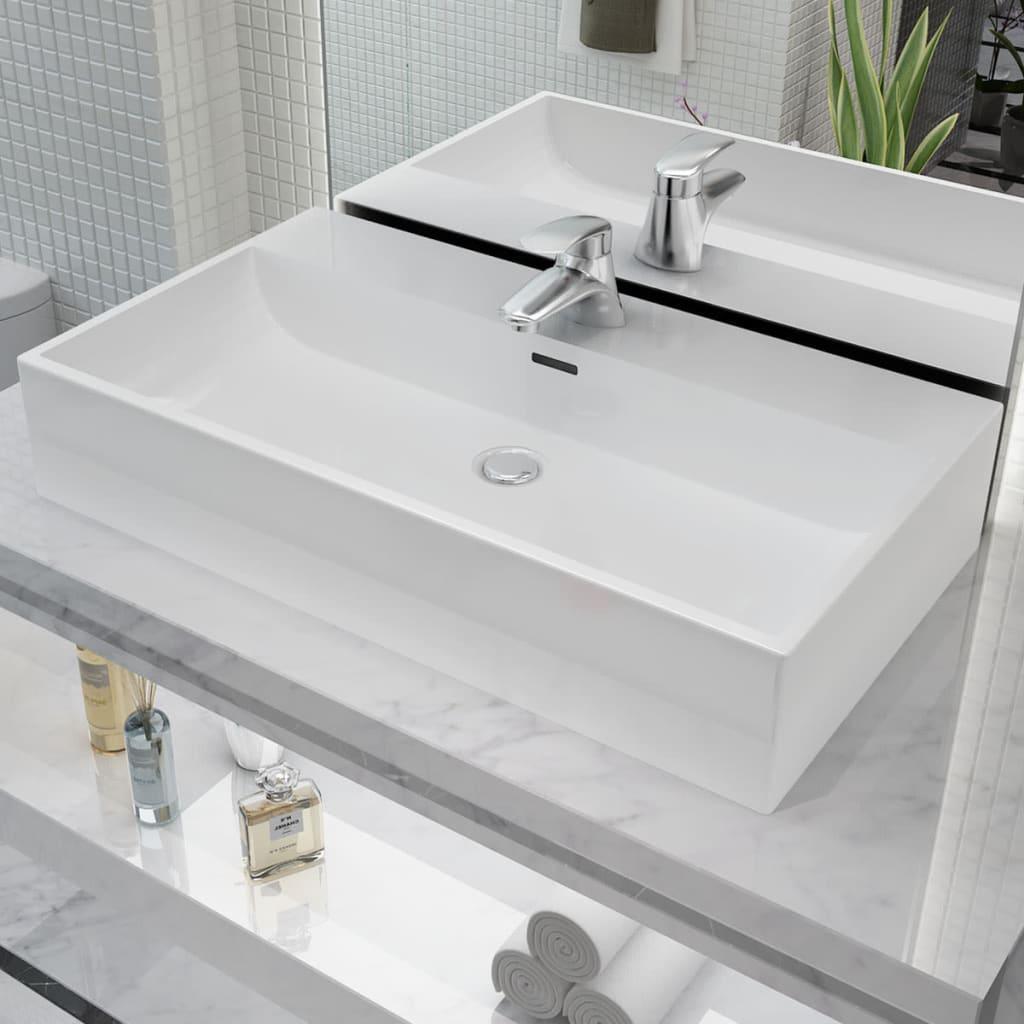 vidaXL Fehér kerámia mosdó csaptelep furattal 76x42,5x14,5 cm