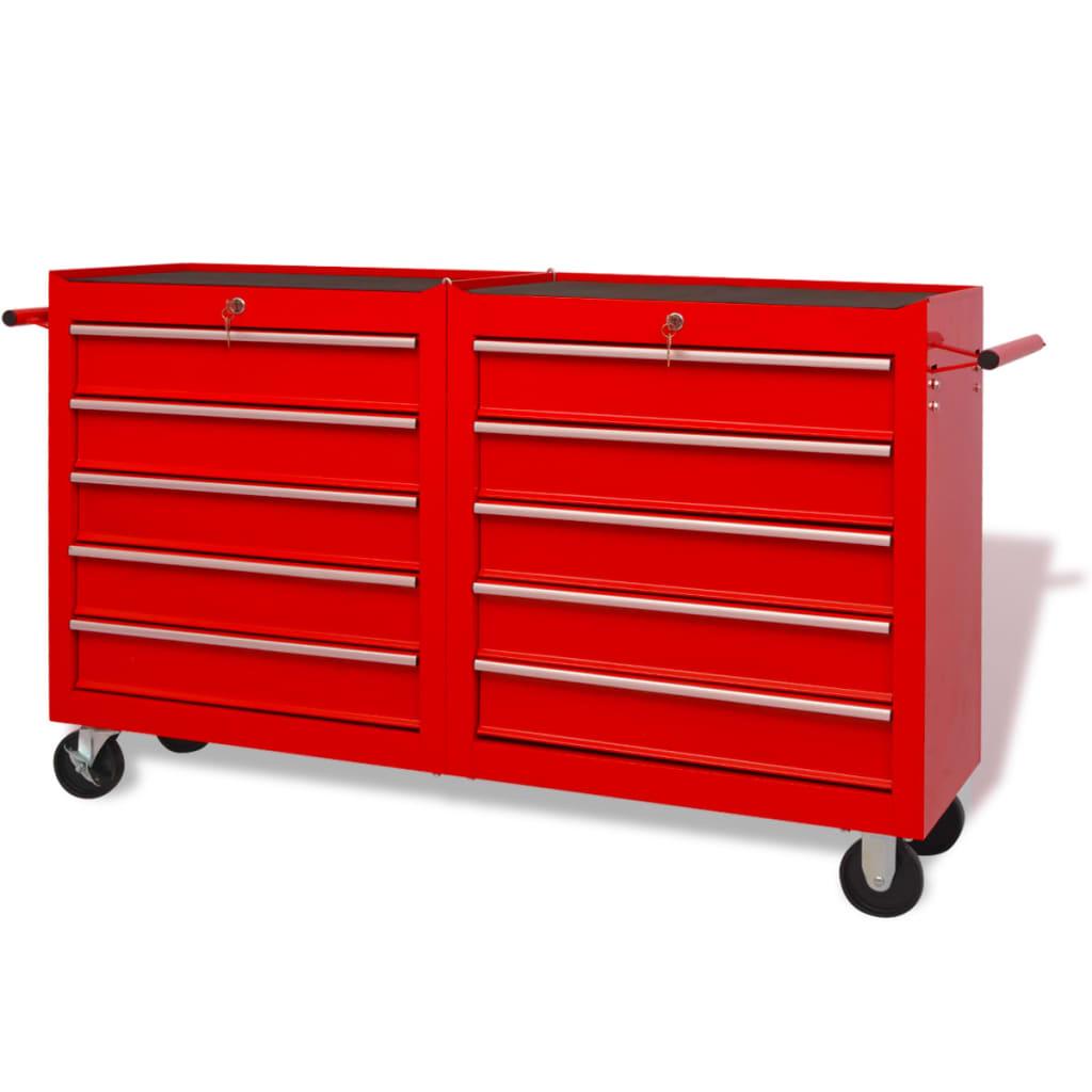 vidaXL XXL méretű piros 10 fiókos acél munka szerszámkocsi