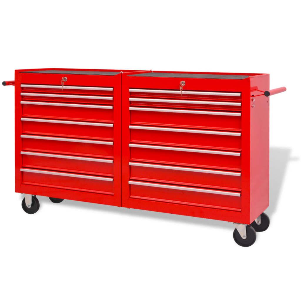 vidaXL 14 fiókos piros acél szerszámkocsi XXl-es méret