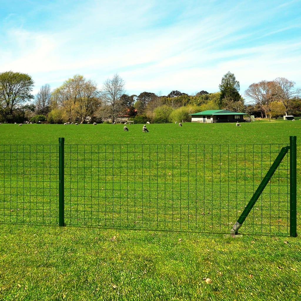 vidaXL Euro Fence zöld acélkerítés szett cövekekkel 10 x 1,7 m