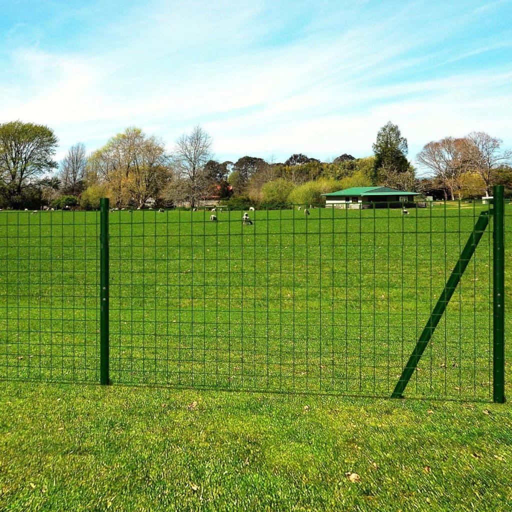 vidaXL Euro Fence acélkerítés szett cövekekkel zöld 10 x 1,96 m