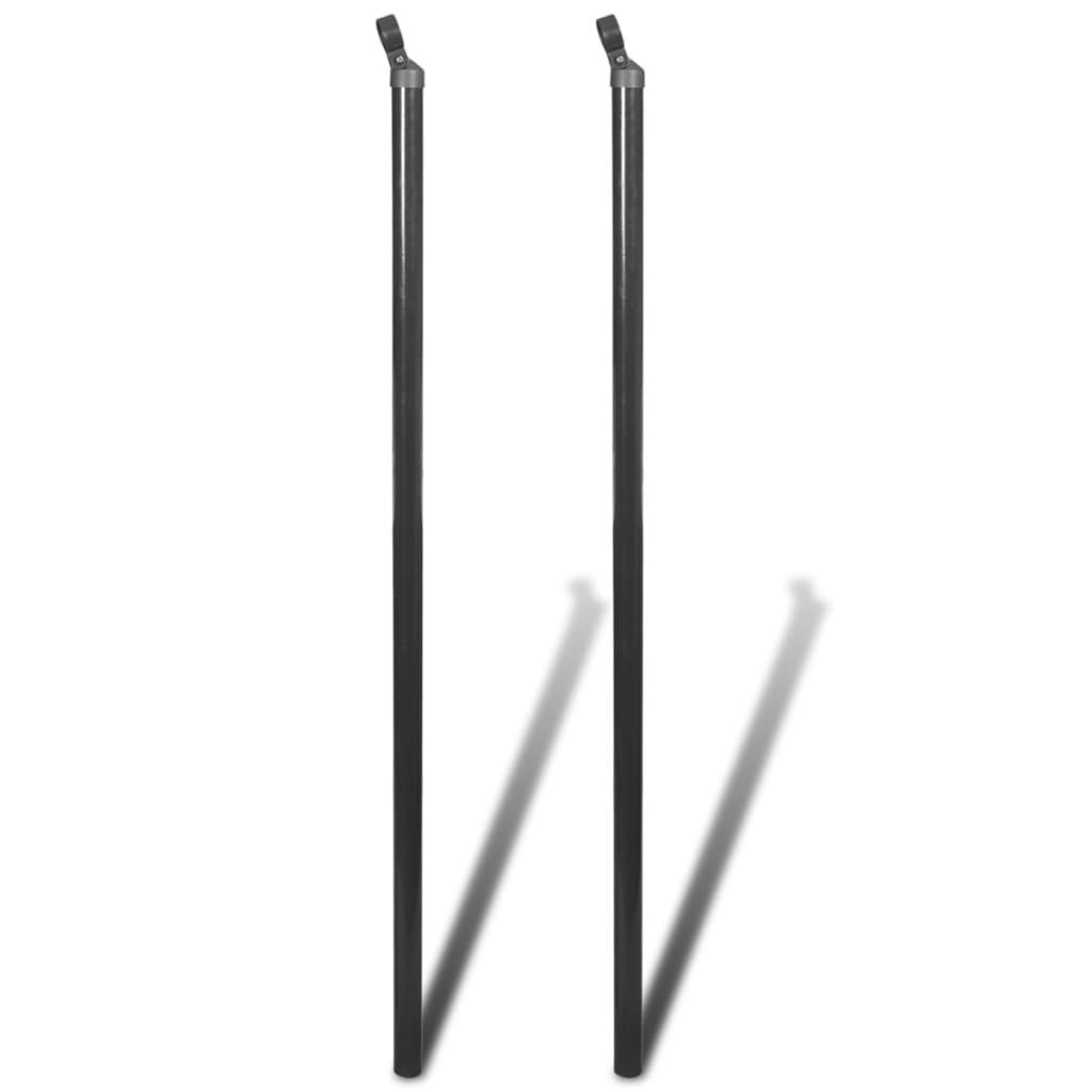 vidaXL 2 db szürke tartópózna drótkerítéshez 115 cm