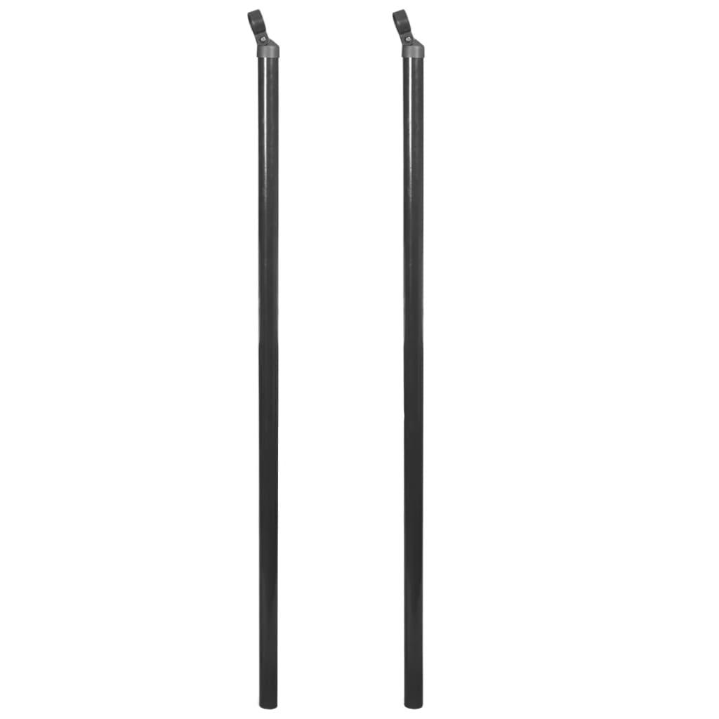 vidaXL 2 db szürke tartópózna drótkerítéshez 150 cm