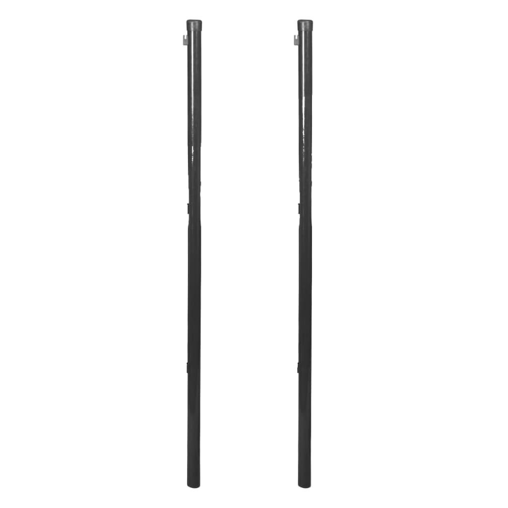 vidaXL 2 db szürke kerítéspózna drótkerítéshez 115 cm