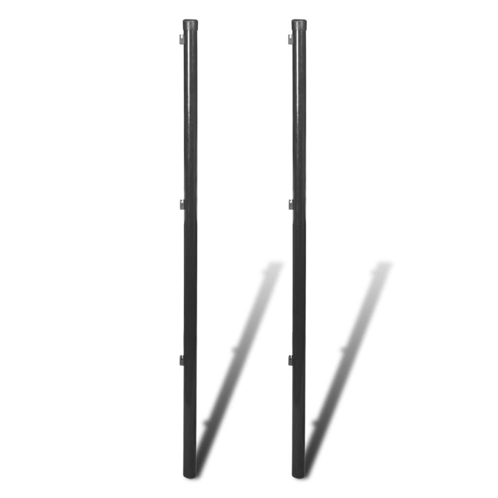 vidaXL 2 db szürke kerítéspózna drótkerítéshez 170 cm