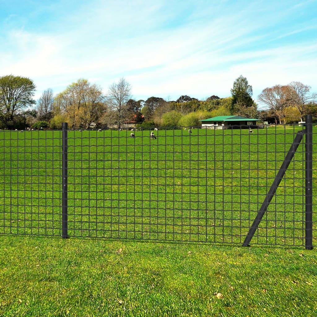 vidaXL Euro Fence szürke acélkerítés szett cövekekkel 25 x 0,8 m